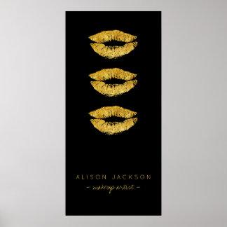 Poster Promotionnel fascinant de noir de lèvres d'or de