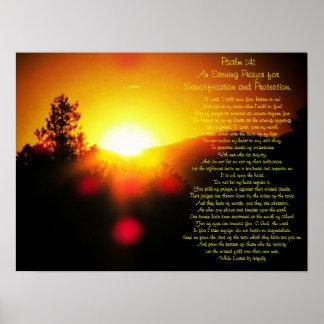 Poster Psaume 141 avec le coucher du soleil lumineux