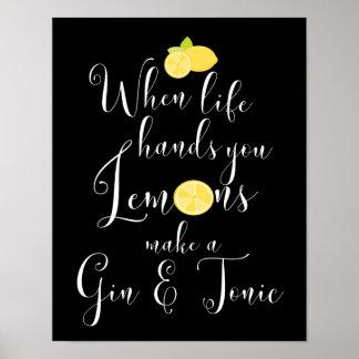 Poster Quand la vie vous remet la typographie de citrons