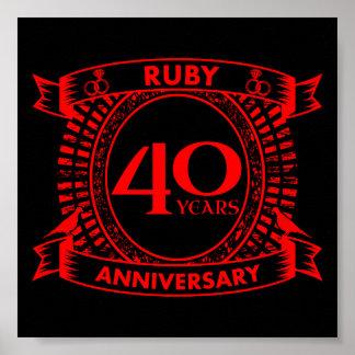 Poster quarantième crête de rubis d'anniversaire de