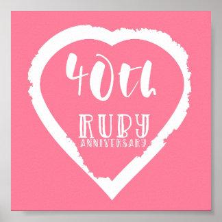 Poster quarantième rubis traditionnel d'anniversaire de