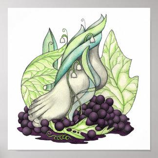 Poster Quittant d'un pas lourd les raisins du style de