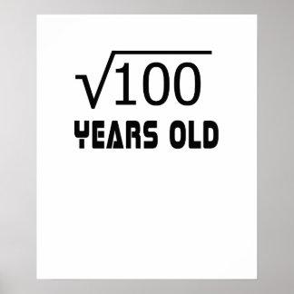 Poster Racine carrée de 100 10 années anniversaire