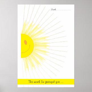 Poster Rayons de Mindfulness de gratitude de soleil