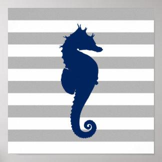 Poster Rayures grises et blanches d'hippocampe de bleu