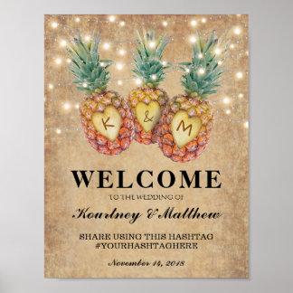 Poster Réception de mariage tropicale d'ananas exotique