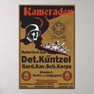Poster Récréation allemande Kameraden de l'affiche WW1