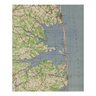 Poster Rehoboth vintage et Bethany Beach DE Map (1944)