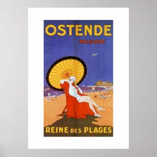 Poster Reine d'Ostende de voyage d'été de beauté des