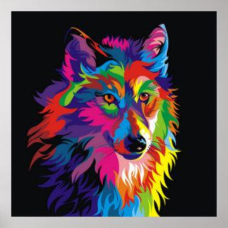 Poster Renard coloré