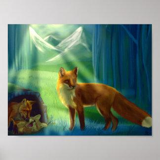 Poster Renards dans l'affiche de forêt