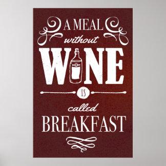 Poster Repas sans vin