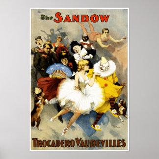 Poster Représentation vintage de vaudeville de Sandow