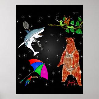 Poster Requin, perroquet, ours et arpenteuse dans