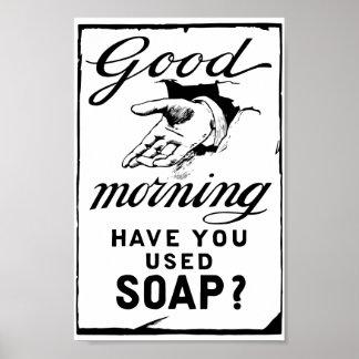 Poster rétro annonce d'hygiène au sujet de se laver les