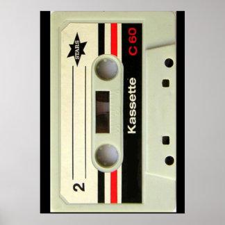 Poster Rétro enregistreur à cassettes de cassette
