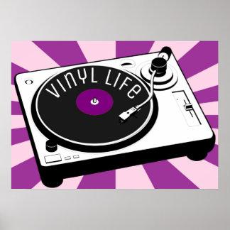 Poster Rétro plaque tournante de la vie pourpre de vinyle