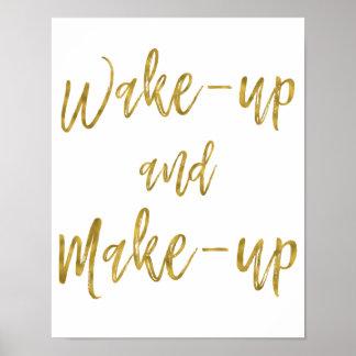 Poster Réveillez et composez la feuille d'or inspirée de