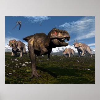 Poster Rex de Tyrannosaurus attaqué par le dinosaure de