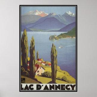 Poster Rhône Alpes vintage, Annecy, France -