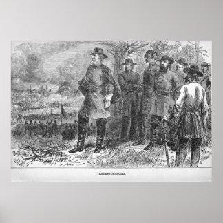 Poster Robert E. Lee avec ses soldats chez Fredericksburg