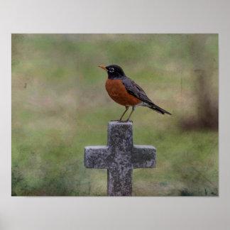 Poster Robin sur une croix