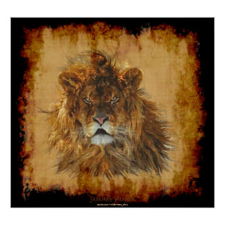 Poster Roi de lion de l'affiche d'art de faune de jungle
