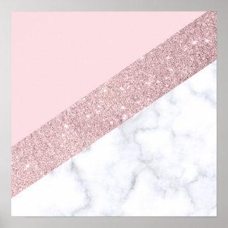 Poster rose de marbre blanc de parties scintillantes