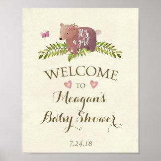 Poster rose de signe de baby shower c'est un ours de