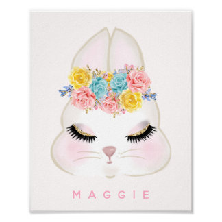 Poster Rose floral Girly de visage de lapin personnalisé