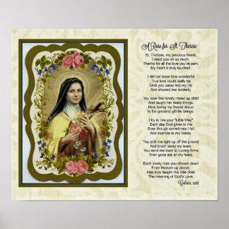 Poster Roses de St Therese peu de prière de poème de