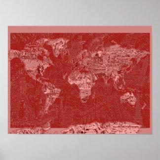 Poster rouge 1 de carte du monde