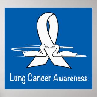 Poster Ruban de conscience de cancer de poumon avec des