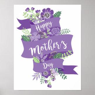 Poster Ruban du jour de mère et copie pourpres heureux de