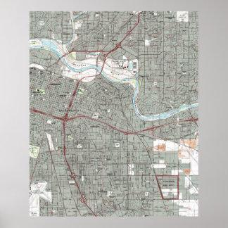 Poster Sacramento la Californie Map (1992)