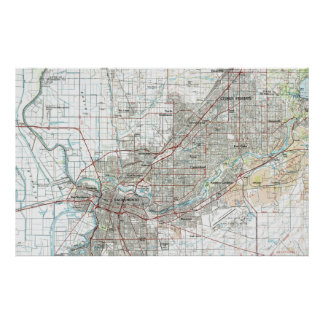 Poster Sacramento la Californie Map (1994)