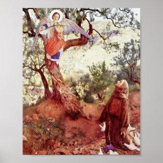 Poster Saint Francis avec l'ange