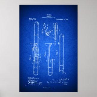 Poster Salut style de modèle d'art de brevet de trombone