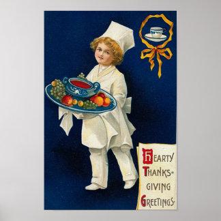 Poster Salutation vintage de thanksgiving
