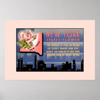 Poster Salutations vintages de fleur de l'état de