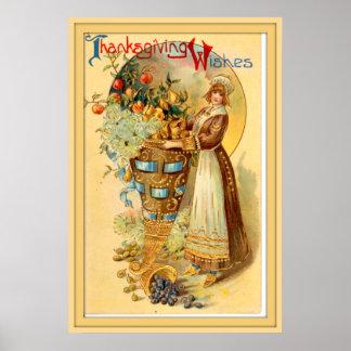 Poster Salutations vintages de thanksgiving