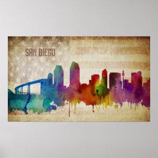 Poster San Diego, horizon de ville d'aquarelle de CA |