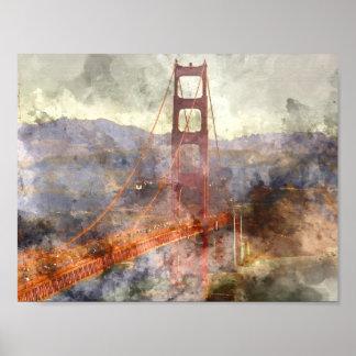 Poster San Francisco golden gate bridge en Californie