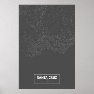 Poster Santa Cruz, la Californie (blanche sur le noir)