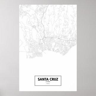 Poster Santa Cruz, la Californie (noir sur le blanc)