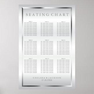 Poster Satin argenté et blanc - diagramme 9 de places