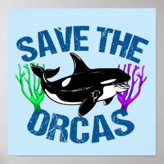 Poster Sauvez le bleu mignon d'orques