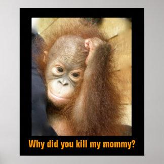 Poster Sauvez l'orang-outan mis en danger d'orphelin de