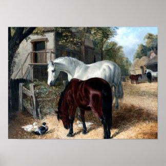 Poster Scène de ferme avec des chevaux