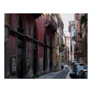 Poster Scène de rue de Vérone, Italie